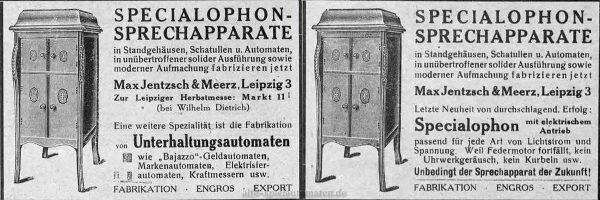 """Anzeigen für Specialophon-Sprechmaschinen von """"Jentzsch & Meerz"""